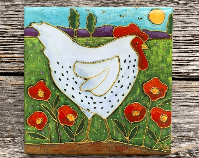Chicken ceramic tile, Chicken Coaster, White Hen, gift lover Hen