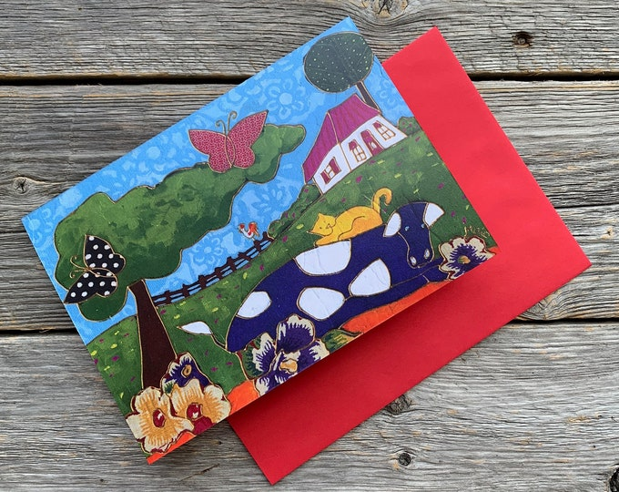 """Greeting card, Cow, cat, country landscape, butterfly, 4"""" x 6"""", anniversary card, wishing card, gift card cow, folk art gift"""
