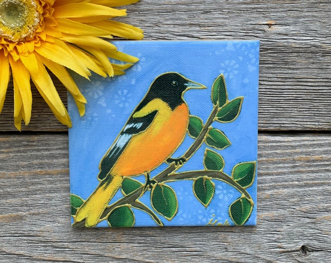 "Ceramic Coaster, Ceramic tile, bird, black and orange bird, Baltimore Oriole, 4"" x 4"", bird lover gift, Art print by Isabelle Malo"