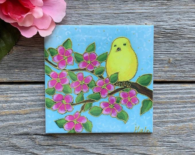 Ceramic tile coaster canary bird art print ceramic