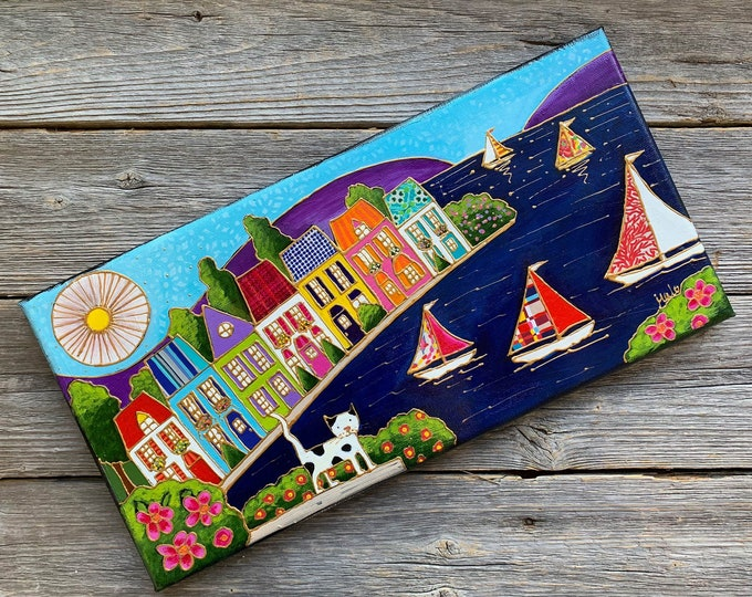 Original acrylic painting on canvas, sail boat and colourful houses landscape, cat , whimsical art, folk art colourful landscape lover