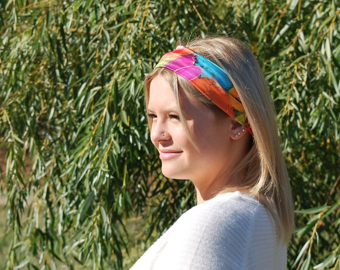 Headband flower,  scarf face warmer, colourful flowers, red, yellow, orange, blue flowers for danse, yoga or sport