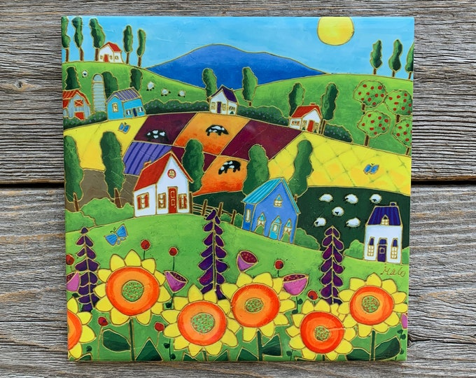 """Ceramic tile, Country Landscape, colourful houses, Cow, sheep, Sunflowers, 6"""" x 6"""", decoration, square trivet, Art print by Isabelle Malo"""