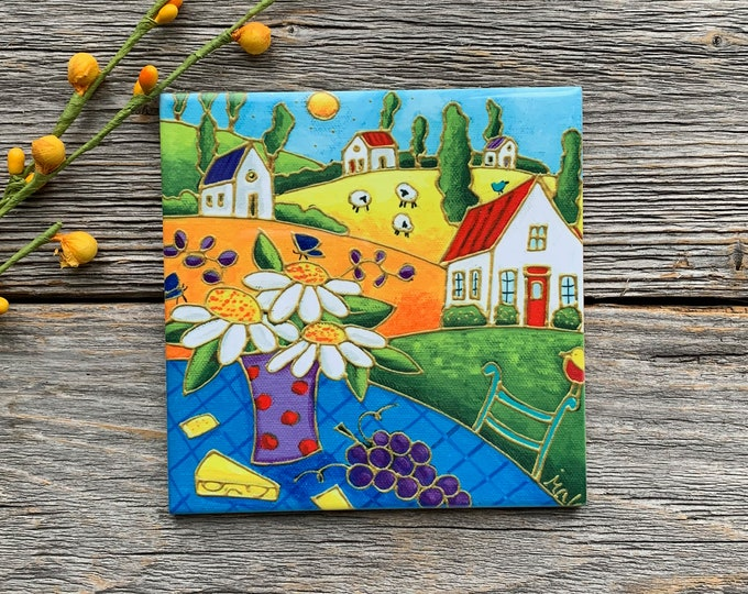 "Ceramic tile, Coaster, Country Landscape, houses, sheep, flowers, raisin, cheese, 4"" x 4"", square trivet, Art print"
