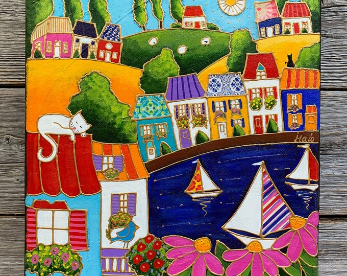 Featured listing image: Original painting, Colourful Country landscape, colourful houses, acrylic painting on canvas, folk art, sail boat,  by artist Isabelle Malo