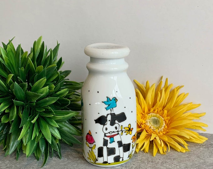 Creamer Vintage-style white stoneware cow hand painted