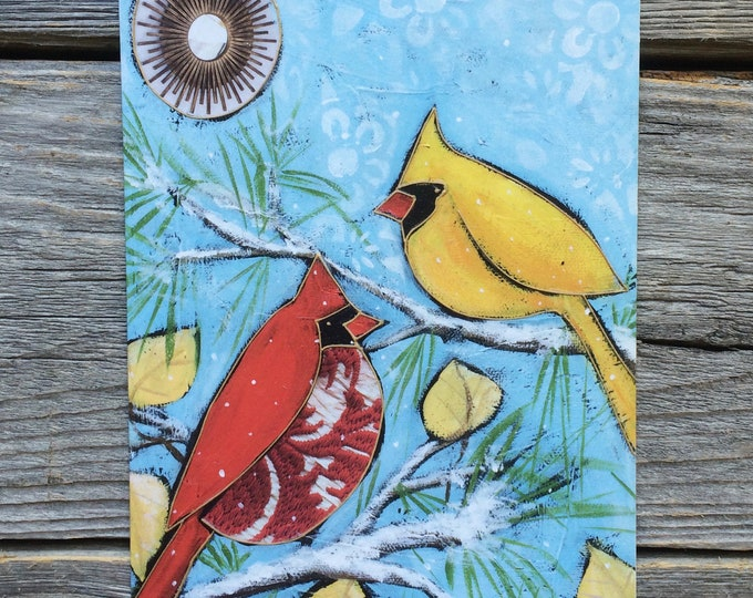 "Greeting card, 2 cardinal bird, 5"" x 7"", wishing card, gift card bird, by artist Isabelle Malo"