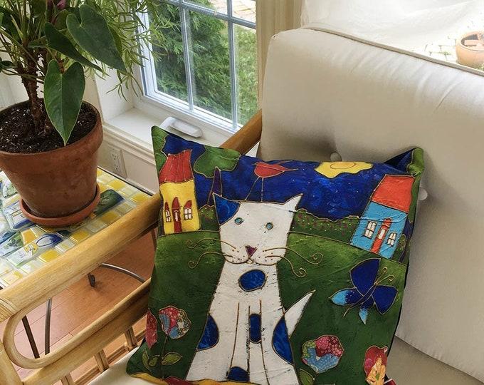 Pillow case decorative Cat, Velveteen fabric, Children bedroom gift, cat cushion, cat lover gift, shower baby gift, original painting
