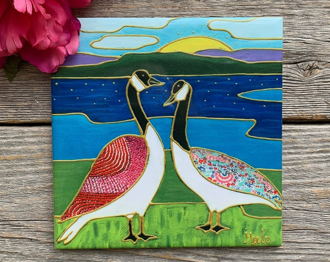 Ceramic tile square trivet goose