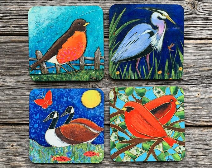 "BIrd Coasters, Set of Coasters 4"", blue heron, canada goose, red bird, american robin, coaster table, Home decor, kitchen gift"