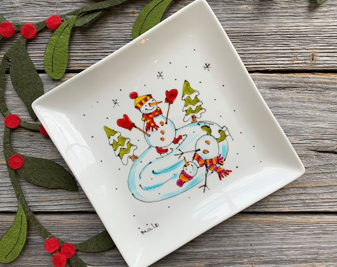 Small Square porcelain plate, iceskating Snowman,  jewel tray, unique gift, Christmas gift, Hand painted