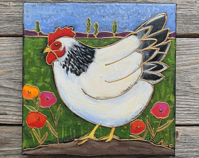 Original acrylic painting on canvas white hen