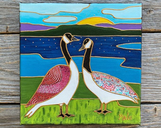 Original acrylic painting on canvas goose