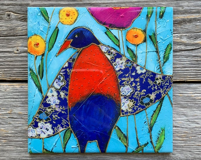 """Ceramic tile,  Blue and red bird, 4"""" x 4"""", decoration, square trivet, Art print by Isabelle Malo"""