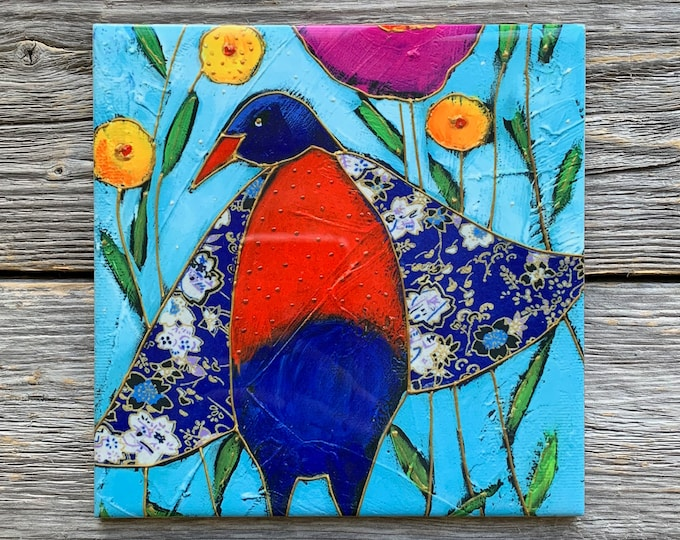 "Ceramic tile,  Blue and red bird, 6"" x 6"", decoration, square trivet, Art print by Isabelle Malo"