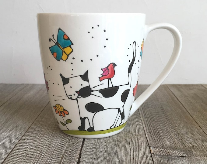 Featured listing image: Coffee Mug Porcelain, Cat, colourful, flowers, coffee cup, tea cup, Cat lover gift, Hand painted
