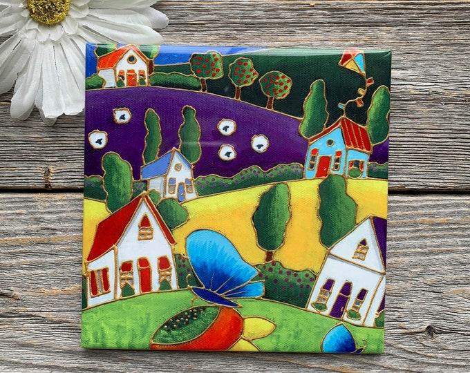Ceramic tile trivet landscape colourful house blue butterfly sheep kite