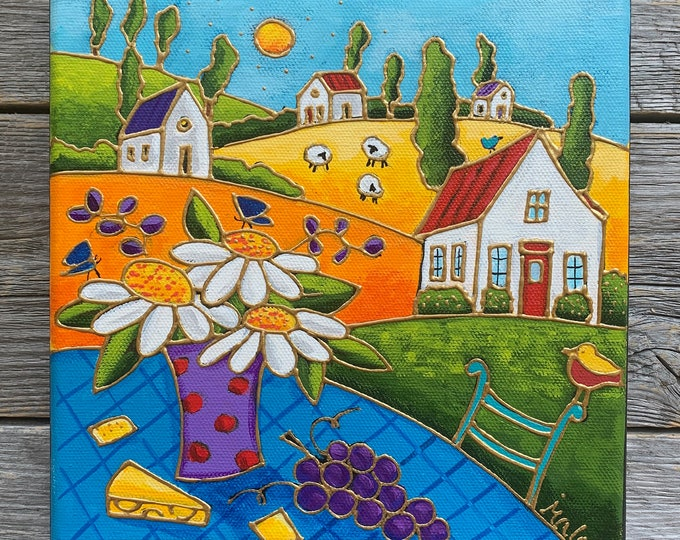 Original acrylic painting, colourful landscape, colourful houses, flowers, raisin, cheese, hand paint by artist Isabelle Malo