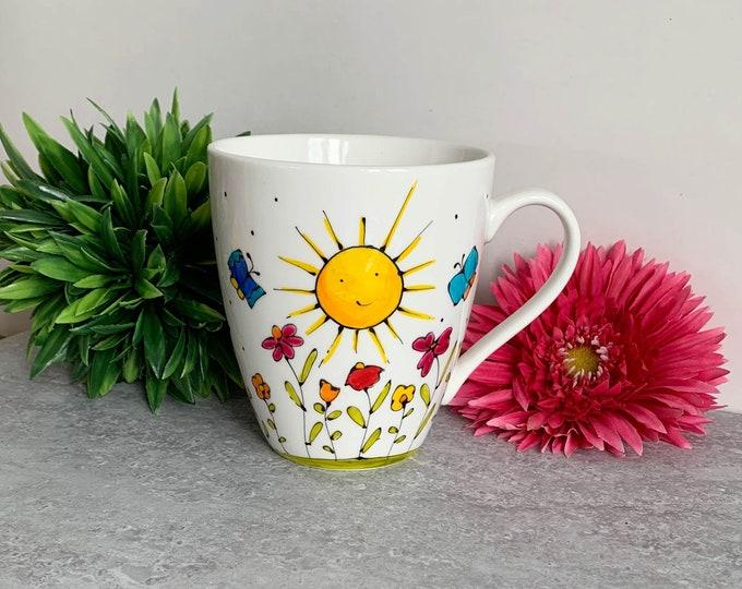 Mug sun flower butterfly hand painted