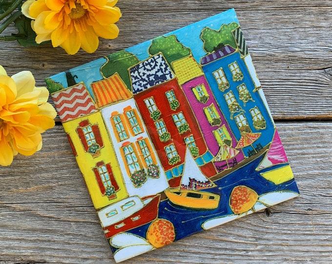 Ceramic tile wall Art, Colourful houses, sailboat, flower, square trivet, ceramic frame, art ceramic