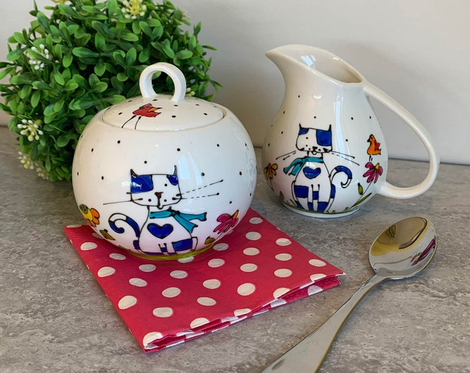 Cream and sugar set, Cat illustration, kitchen cat gift, Cat lover gift, hand painted
