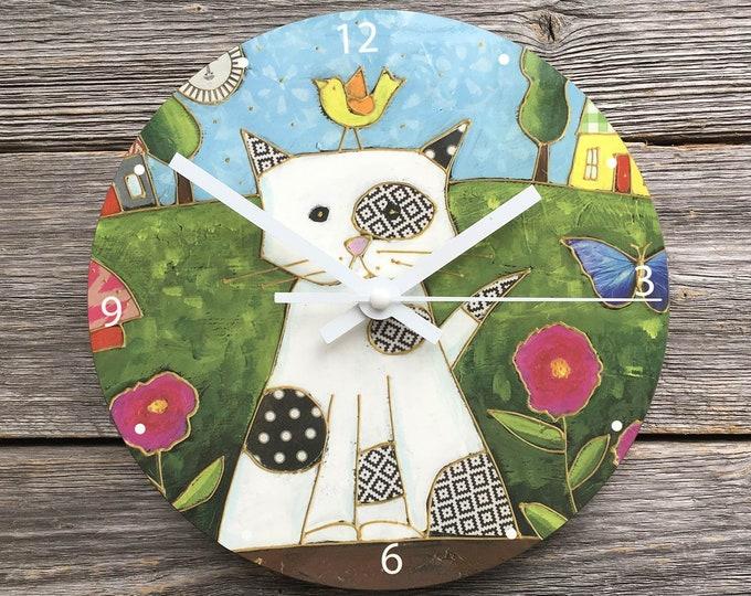 Featured listing image: Cat Wall Clock, round, White Cat, Art print clock, children room gift