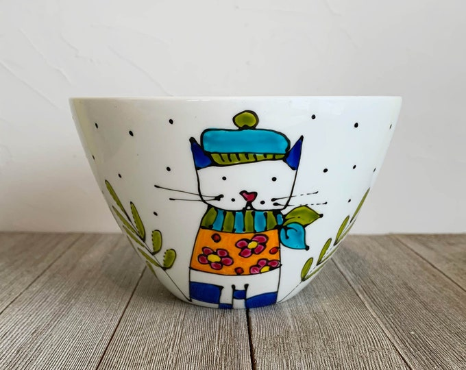 Featured listing image: Cereal bowl, rice bowl, Cat, Porcelain, 8 inches, cats lover, Unique gift, Hand painted by isamalo