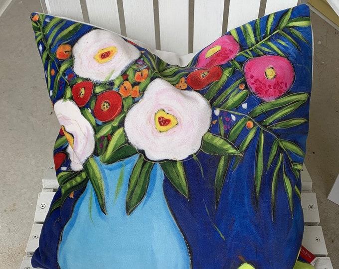 Pillow case, Velveteen, white flower, pink flowers, blue background, home decoration gift, flower cushion gift