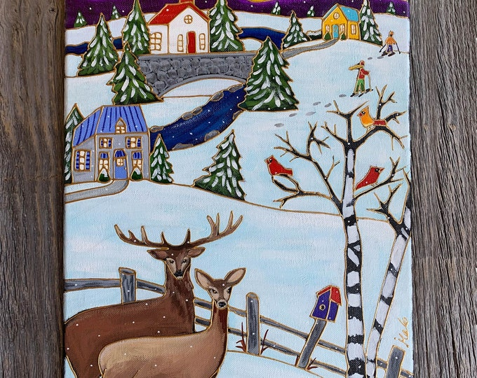 Original acrylic painting on canvas, 2 Deer, Winter scene painting, house, church, bird, home decor by artist Isabelle Malo