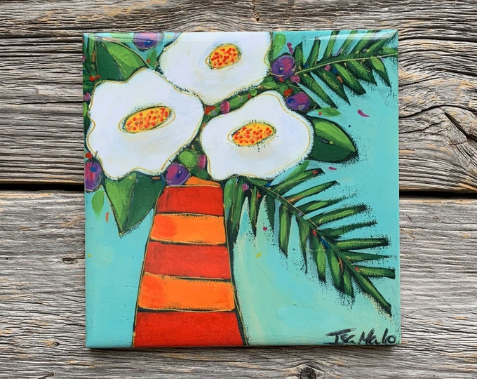 Ceramic tile, Coaster, red and orange Flower vase, white flowers, blue background, ceramic flowers lovers