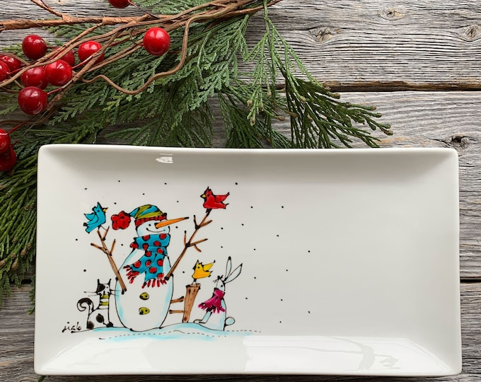 Small rectangle porcelain plate, Snowman, rabbit, cat, birds, unique Christmas gift, Hand painted