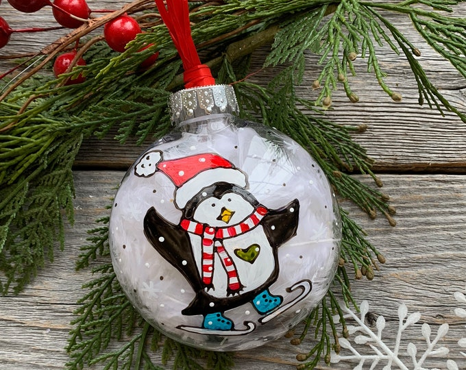 Hand paint, Christmas ball ornement, Penguin with ice skate, scarf and beanie, Christmas ball, One of a kind, Christmas tree gift