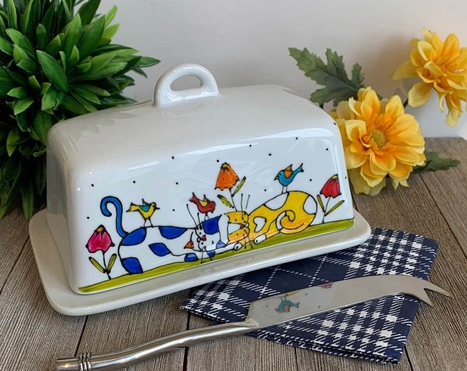 Cat Butter dish porcelain with lid, 2 Cats blue and yellow, cat  lover gift, hand painted, Cat kitchen gift