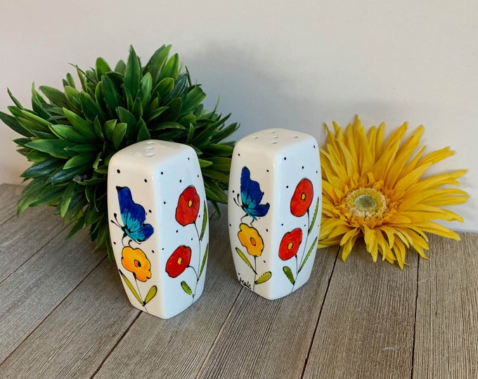 Salt and pepper shaker porcelain red yellow flower blue butterfly hand painted
