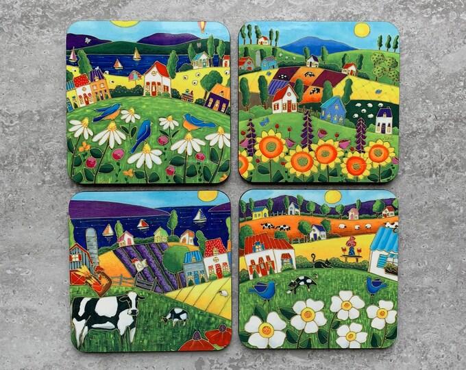 Set of Coasters wood cork landscape colourful house blue bird sunflower daisy