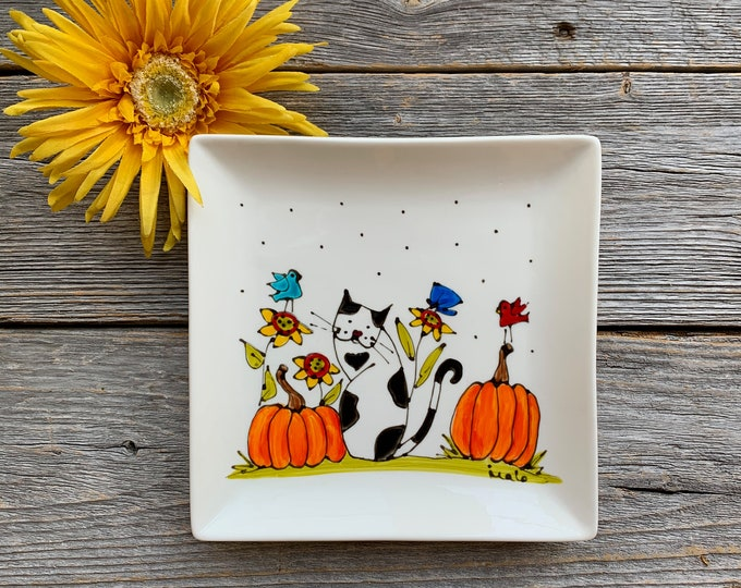 Cat and Pumpkins, birds, flowers, Square porcelain plate, jewel tray, kitchen Cat lover, unique gift, Halloween gift, Hand painted