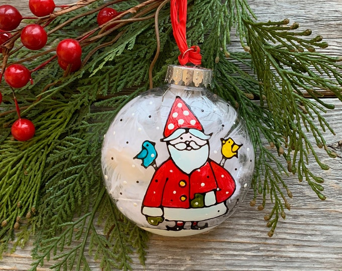 Hand paint, Christmas ball ornement, Santa Claus, yellow and blue bird, Christmas ball, One of a kind, Christmas tree gift
