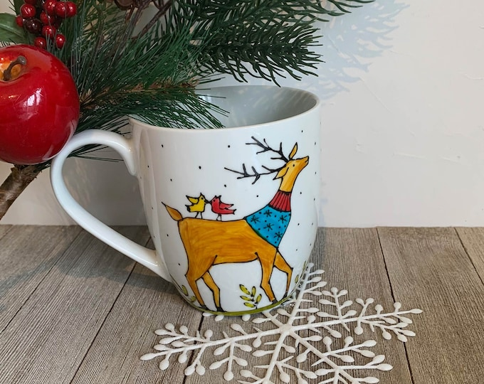 MUG, Coffee, Christmas deer, bird, Tea, tall Mug Porcelain, Unique gift, Hand painted