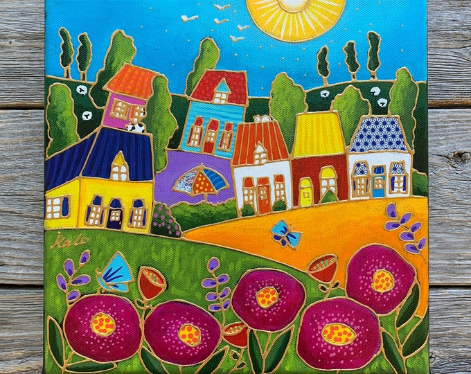 Original acrylic painting, colourful landscape, butterfly, pink flowers, sun, hand paint by artist Isabelle Malo