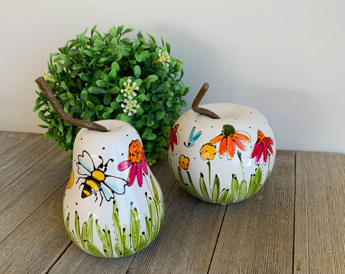 Apple and pear sculpture, art objects, life size fruit, bee, flowers, dragonfly, hand painted by Isabelle Malo