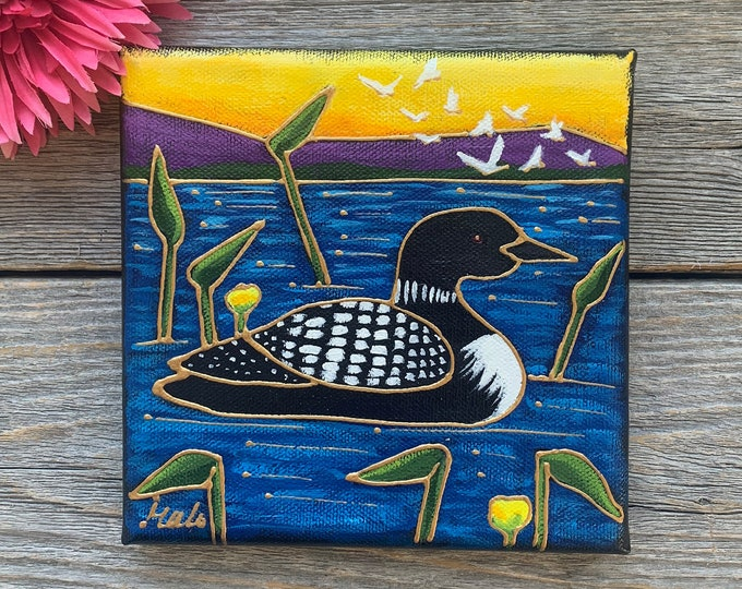 Original acrylic painting on canvas loon duck