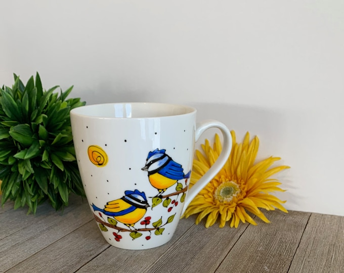 MUG, Coffee, Tea, tall Mug Porcelain, two yellow and blue bird, red fruits, Unique bird gift, Hand painted