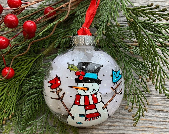 Hand paint, Christmas ball ornement, Snowman with black hat, red and blue bird , Christmas ball, One of a kind, Christmas tree gift