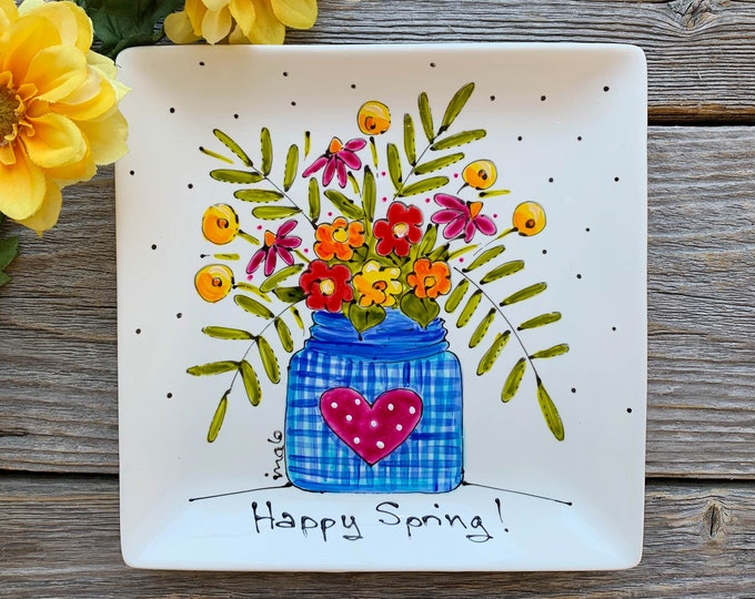 Small porcelain square plate, Happy spring, Blue flower vase, pink heart, colourful flower, flower lover gift, small tray, hand paint