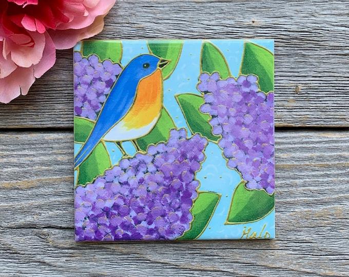 Ceramic tile coaster blue merle lilac art print ceramic