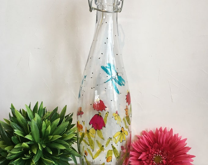Featured listing image: Glass water bottle with swing top lid, flowers, vinegar, juice bottle, Hand painted bottle