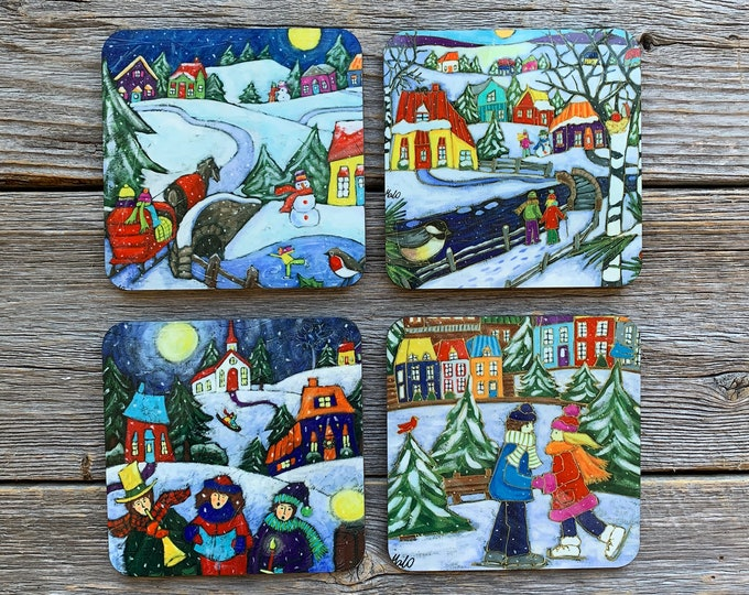 Coasters, Set of Coasters, 4 coasters, Colourful Winter scene Landscape,  Christmas choral, carriage, skating, Christmas coaster gift