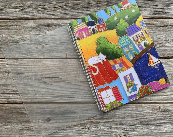 Spiral notebook landscape colourful house cat sailboat