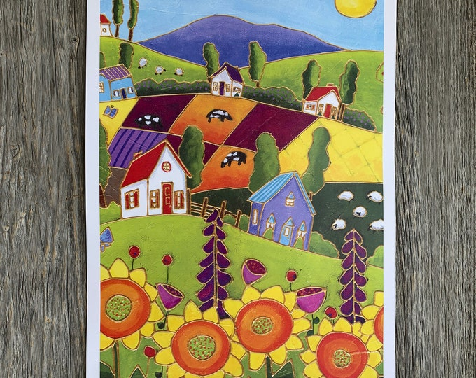 Poster wall decoration landscape colourful houses sunflower