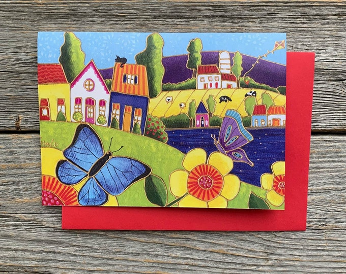 Greeting card, Colourful landscape country, flower, blue butterfly, gift wishing card, birthday card, colourful gift card